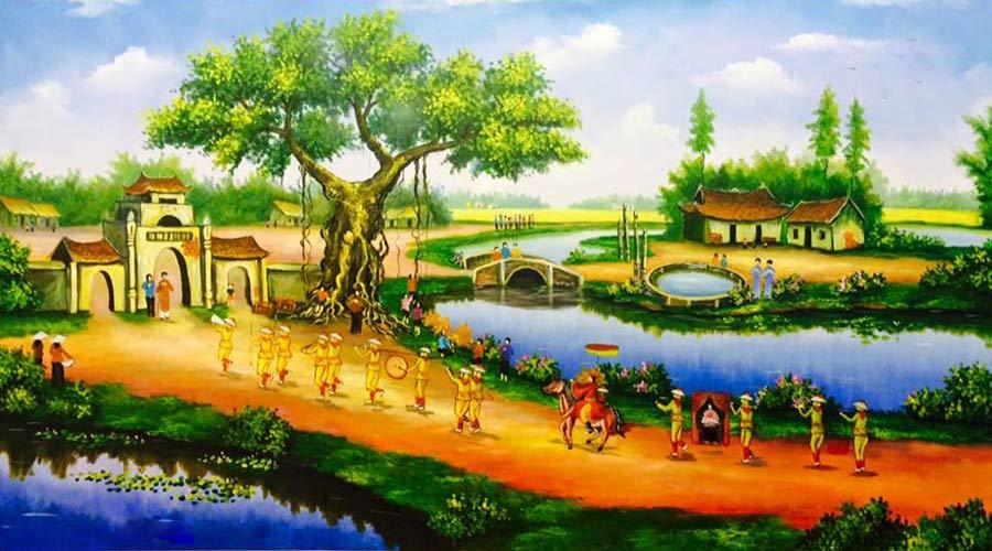 tranh sơn dầu đồng quê