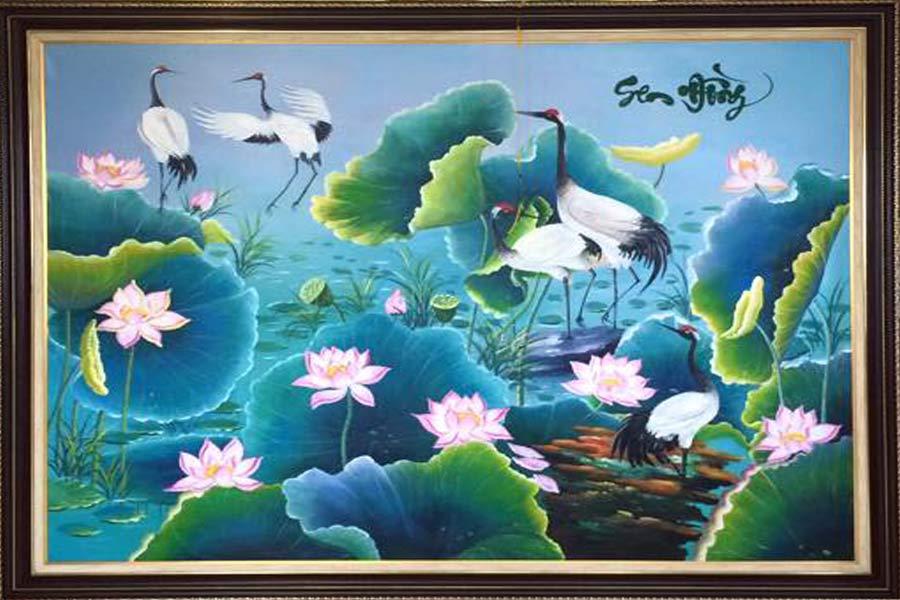 Tranh Sơn Dầu hoa sen tasoda 4