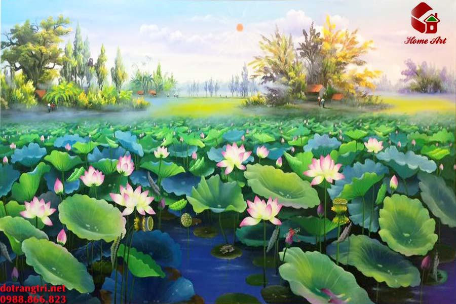 Tranh Sơn Dầu hoa sen tasoda 3