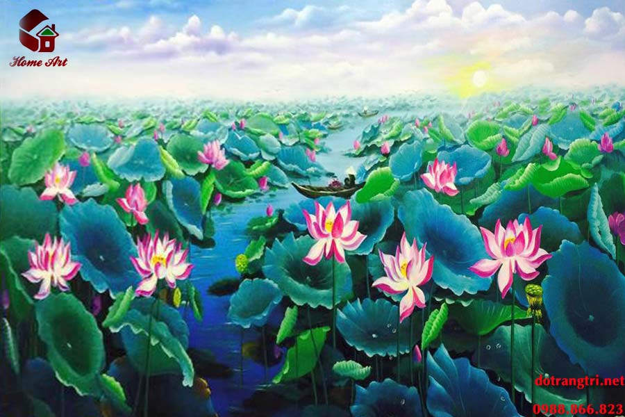 Tranh Sơn Dầu hoa sen tasoda 2