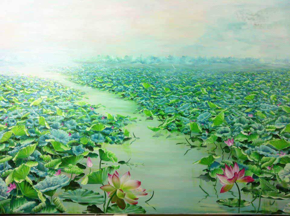 tranh sơn dầu hoa sen 31