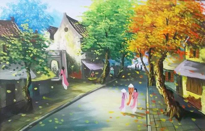 tranh phong cảnh phố cổ hà nội