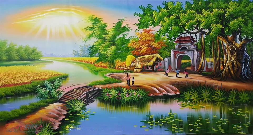 tranh sơn dầu phong cảnh đồng quê
