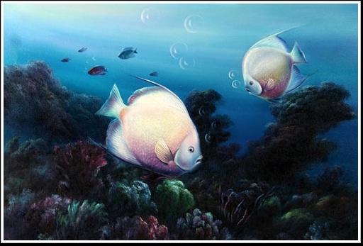 Tranh sơn dầu cá