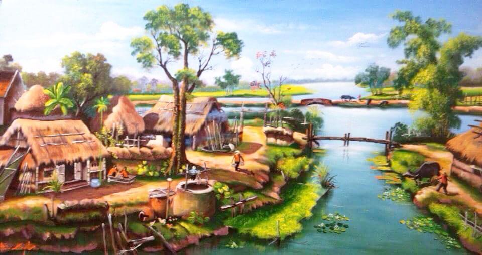 tranh sơn dầu phong cảnh đồng quê việt nam