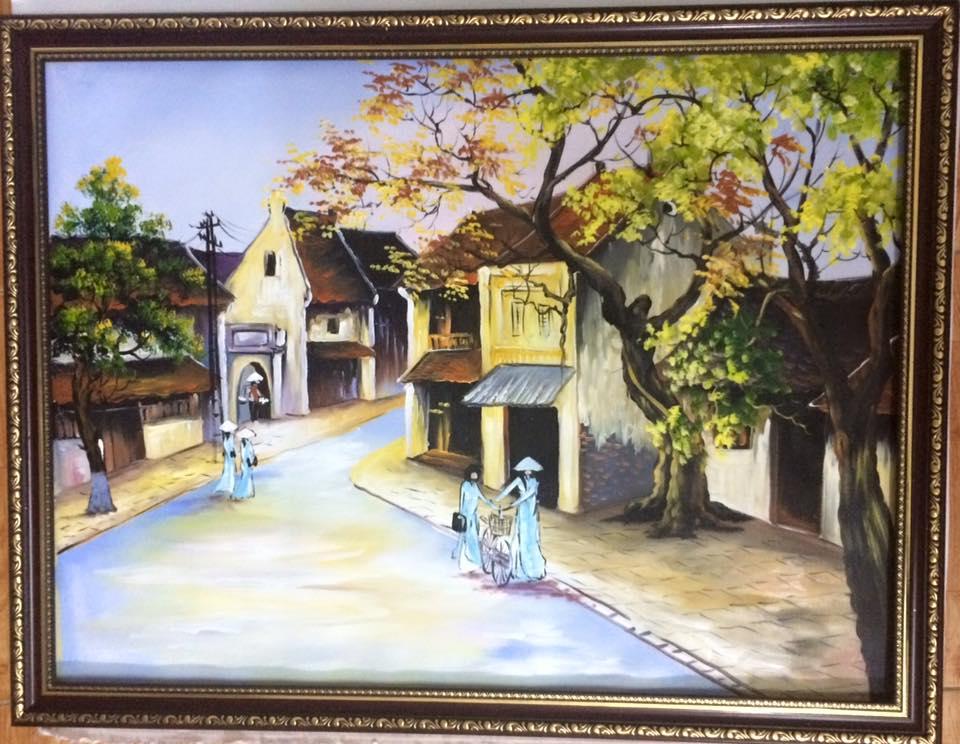 tranh sơn dầu phố cổ 1