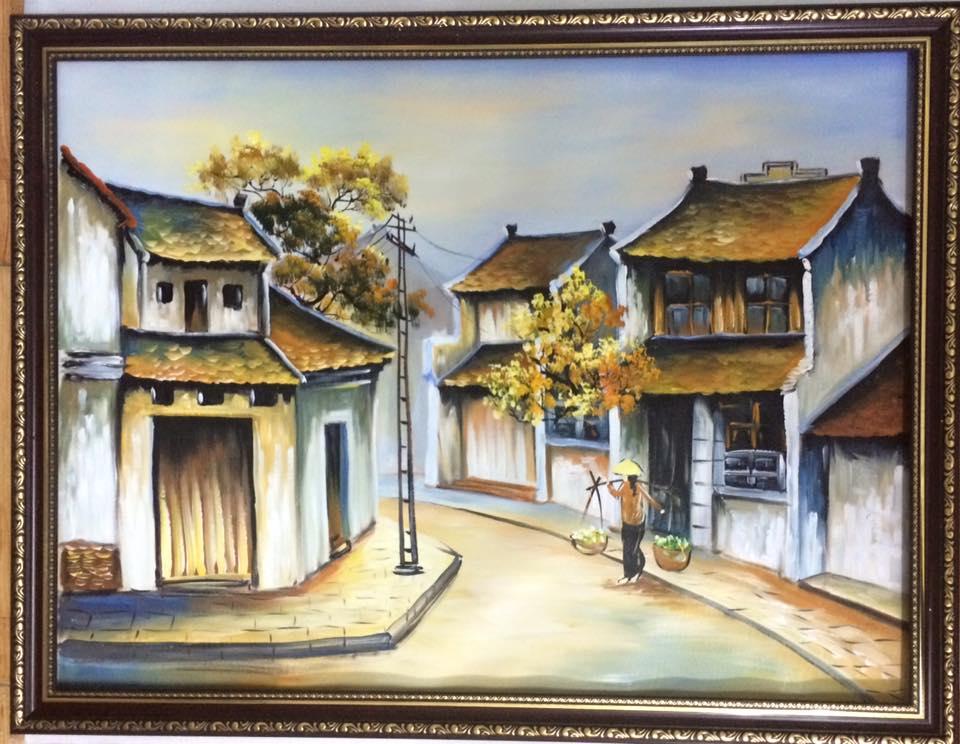 tranh sơn dầu phố cổ 2