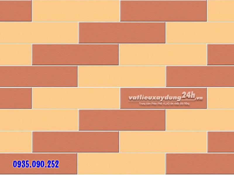 Gạch thẻ Viglacera Hạ Long 6x24 màu đỏ và màu vàng kem