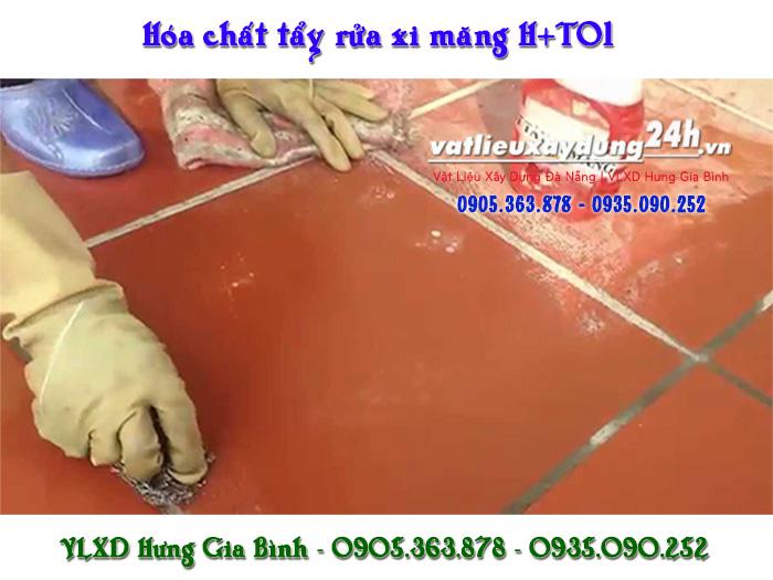 Chất tẩy rửa xi măng H-T01 trên nền gạch gốm đá