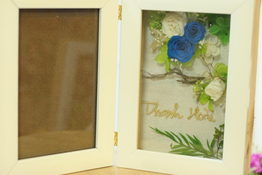 Khung Hình hộp 3D hoa hồng xanh magic