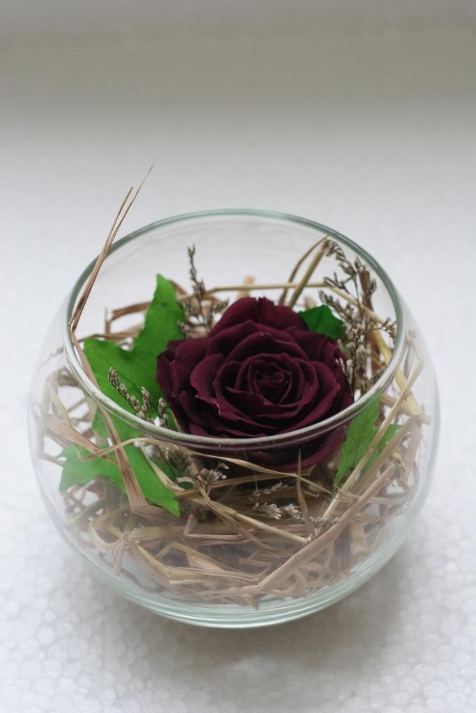 Lọ Thủy Tinh tròn Hoa hồng Tím Quà Tặng 20/10 Lãng Mạng