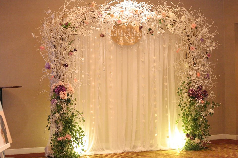 backdrop hoa đào tím hồng sang trọng