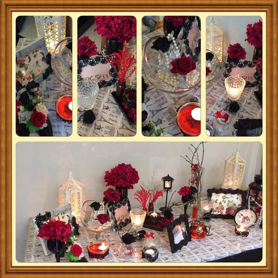Trang trí tiệc cưới gothic wedding màu đỏ đen