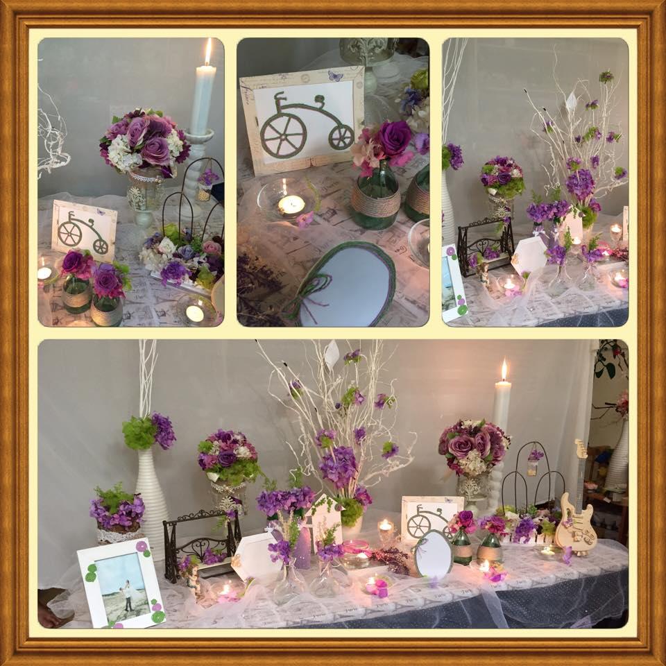 Trang trí bàn đón khách màu tím pastel lãng mạng