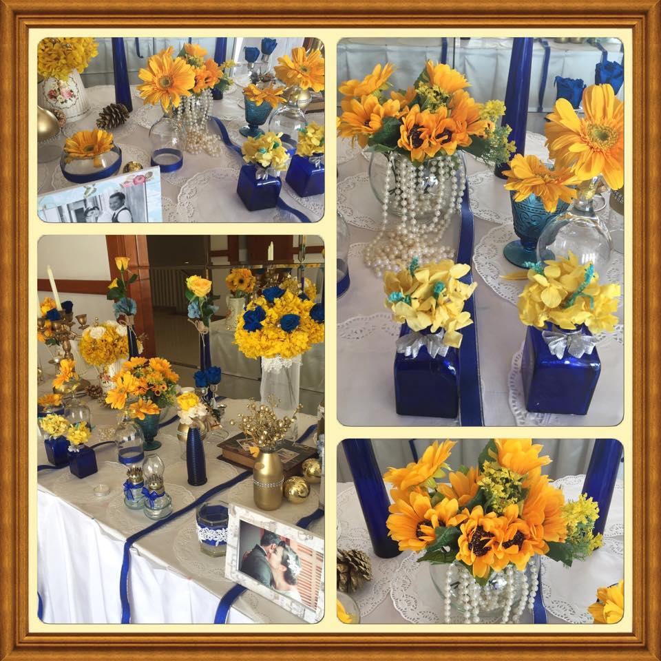 bàn trang trí tiệc cưới đón khách vàng xanh