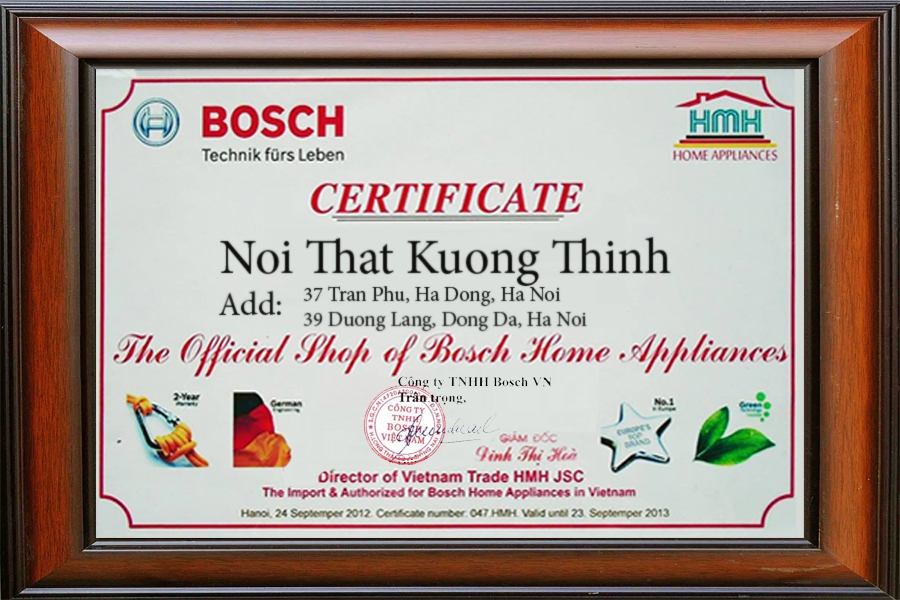 Bosch chứng nhận Nội Thất Kường Thịnh
