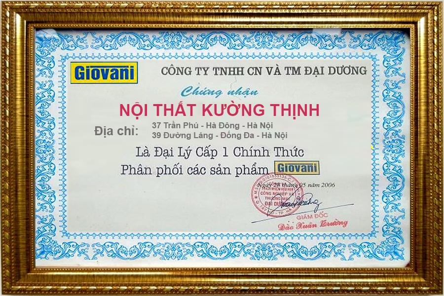 Giovani chứng nhận Nội thất Kường Thịnh