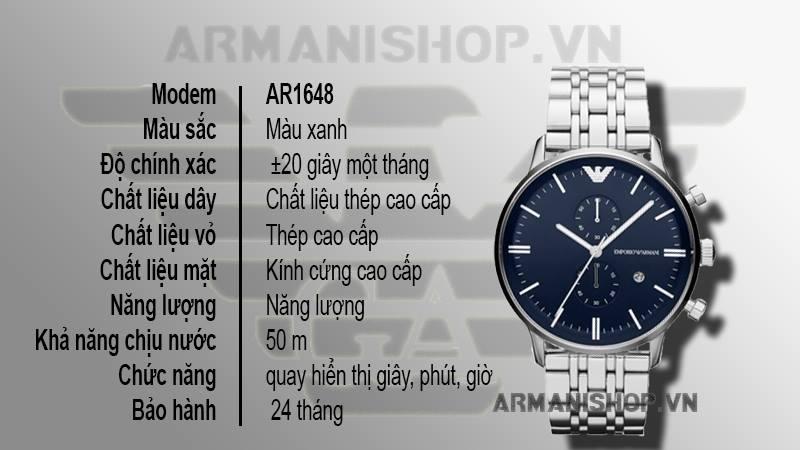 Đồng hồ Nam cao cấp hiệu Armani chính hãng AR1648 - Armanishop.vn