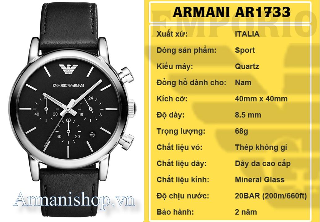 Đồng hồ Nam cao cấp hiệu Armani chính hãng AR1733 - Armanishop.vn