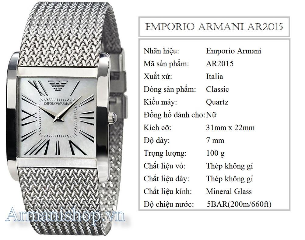 Đồng hồ Nữ cao cấp hiệu Armani chính hãng AR2015 - Armanishop.vn