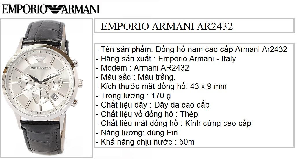 Đồng hồ Armani chính hãng AR2432 dành cho Nam tại Armanishop.vn