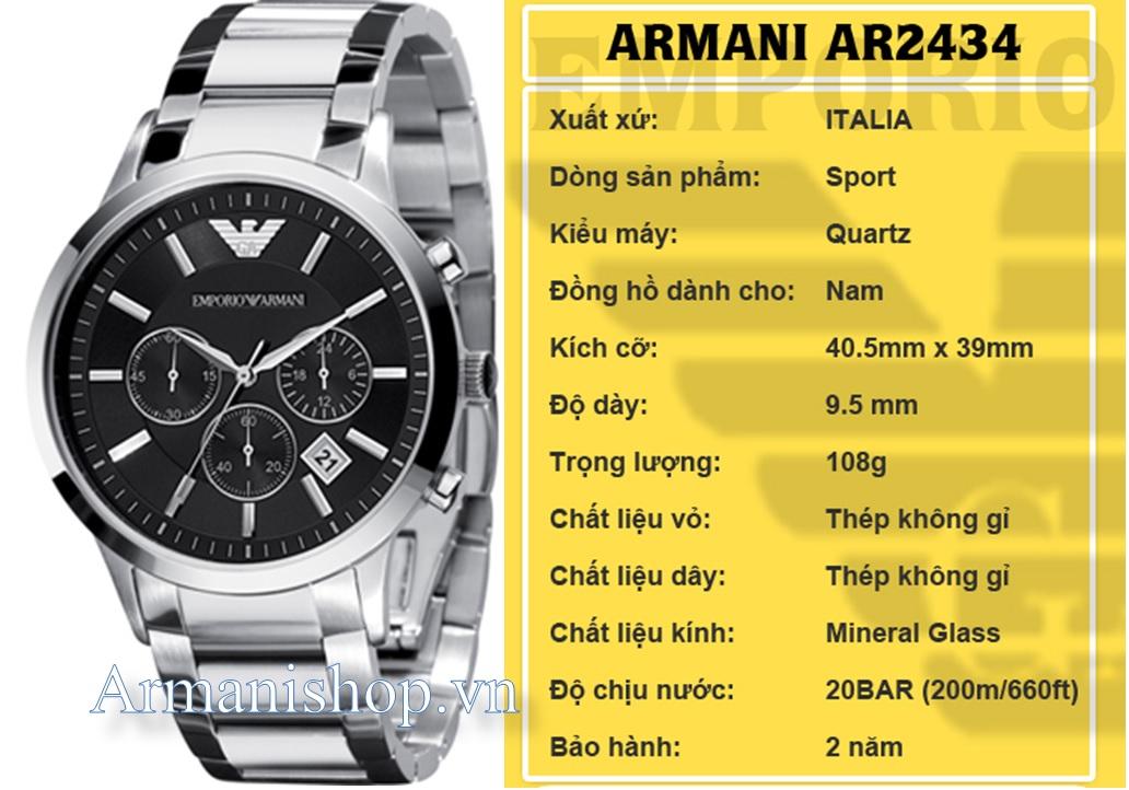 Đồng hồ Armani chính hãng AR2434 dành cho Nam tại Armanishop.vn