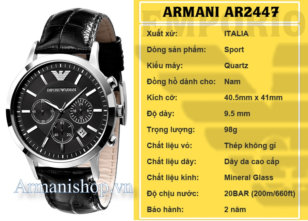 Đồng hồ Armani chính hãng AR2447 dành cho Nam tại Armanishop.vn