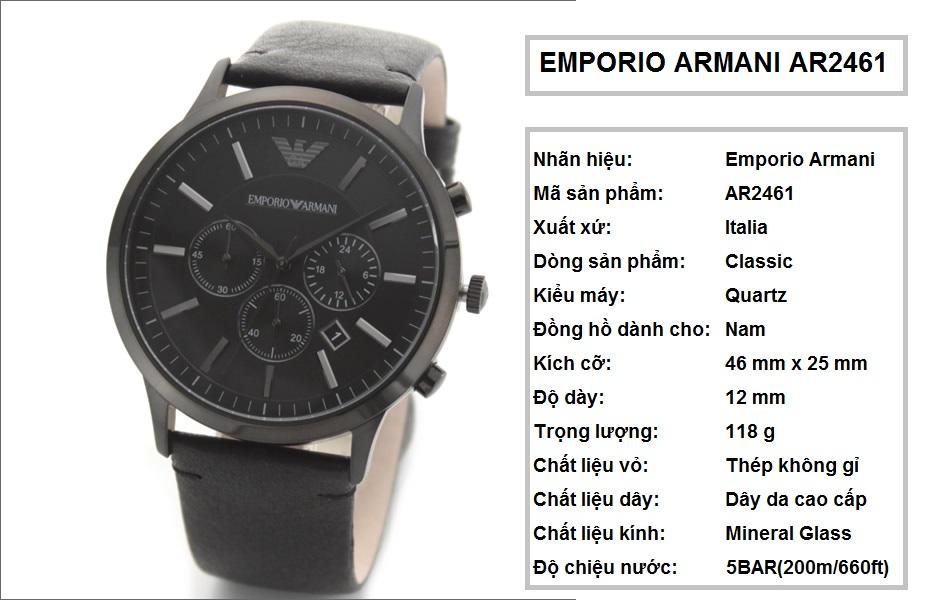 Đồng hồ Armani chính hãng AR2461 dành cho Nam tại Armanishop.vn