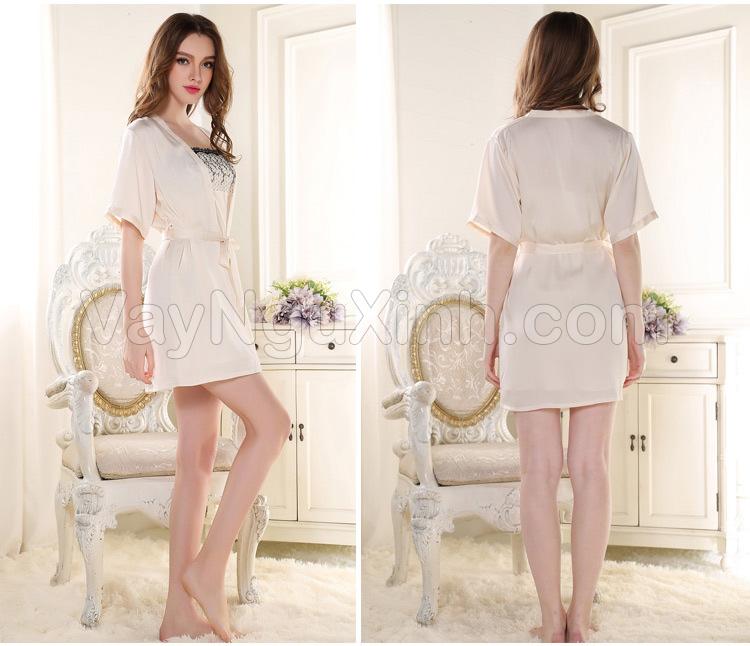 Nguyên Bộ Áo Choàng vá Váy Ngủ Phi Lụa Cao Cấp Thêu Hoa 0628 Trắng