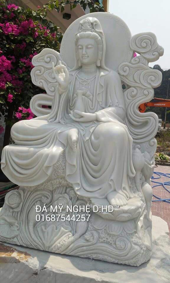 tượng quan âm đá trắng