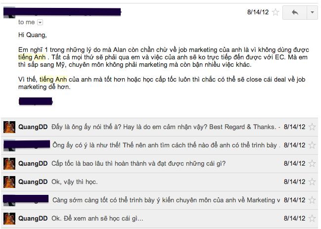 Email trao đổi của tôi và đối tác làm tôi vô cùng thất vọng...