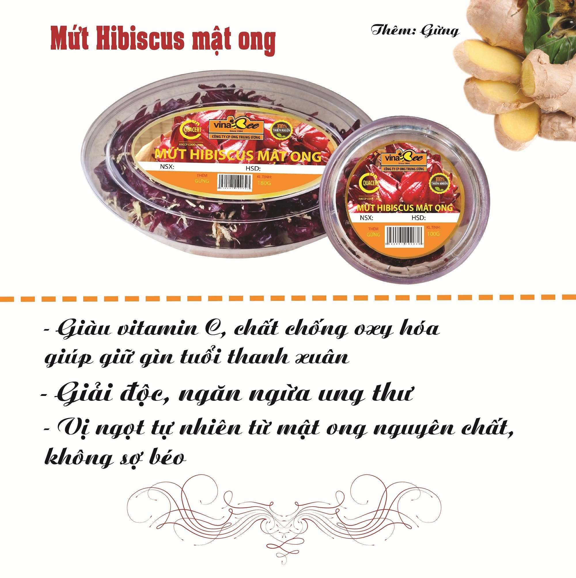 mứt hibiscus mật ong vinabee 3