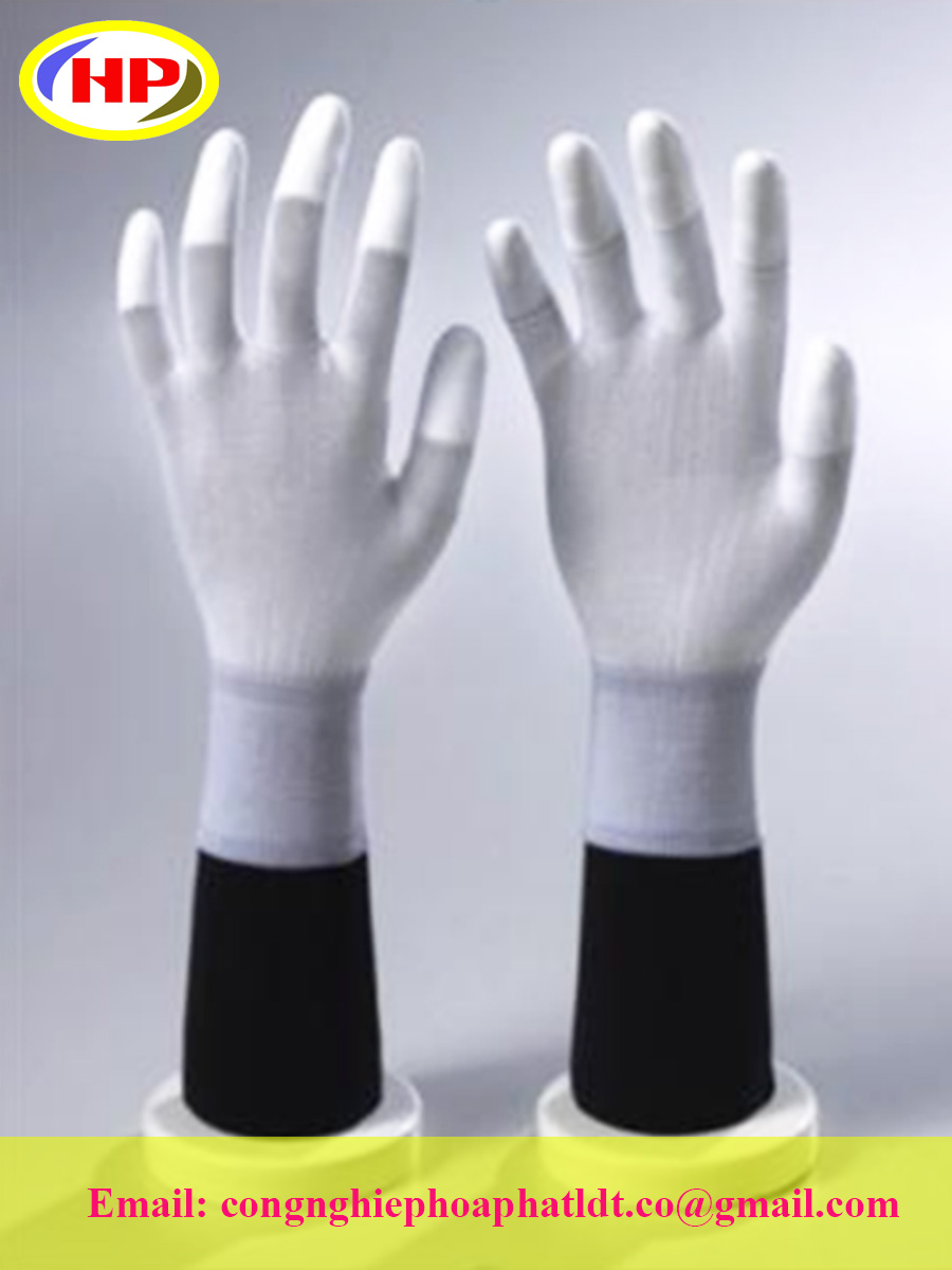 Găng tay sợi poly phủ PU ngón tay màu trắng (POWW-200)