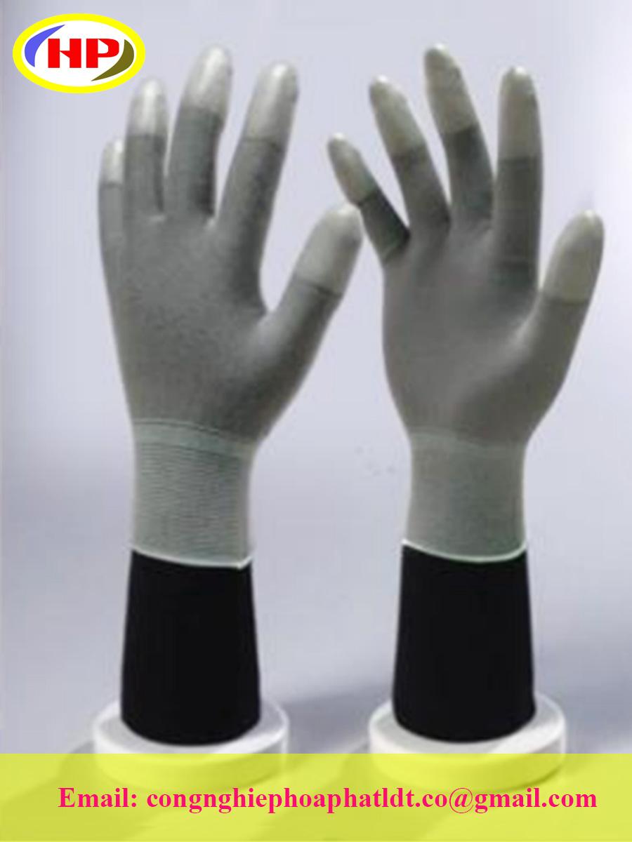 Găng tay sợi poly phủ PU ngón màu xám (POGG-200)