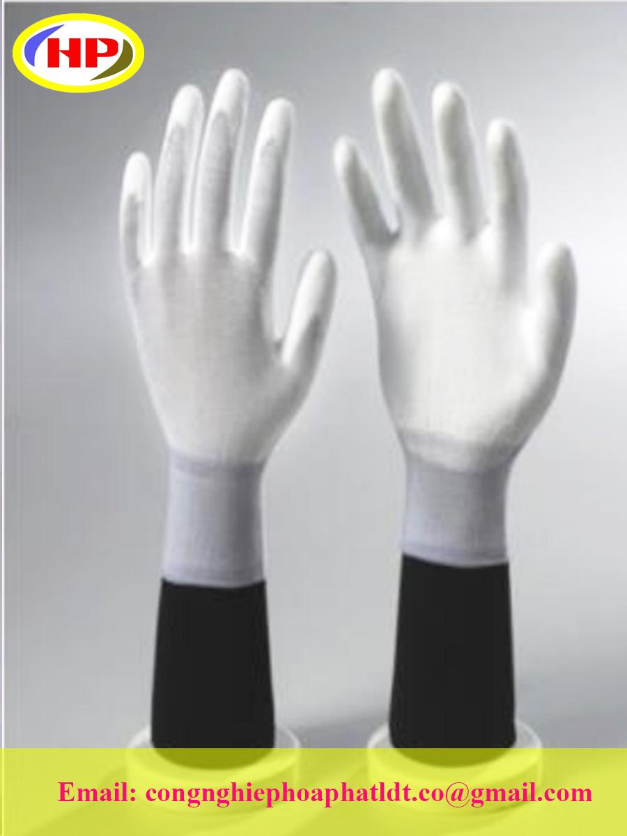 Găng tay phủ poly lòng bàn tay màu trắng POWW-300