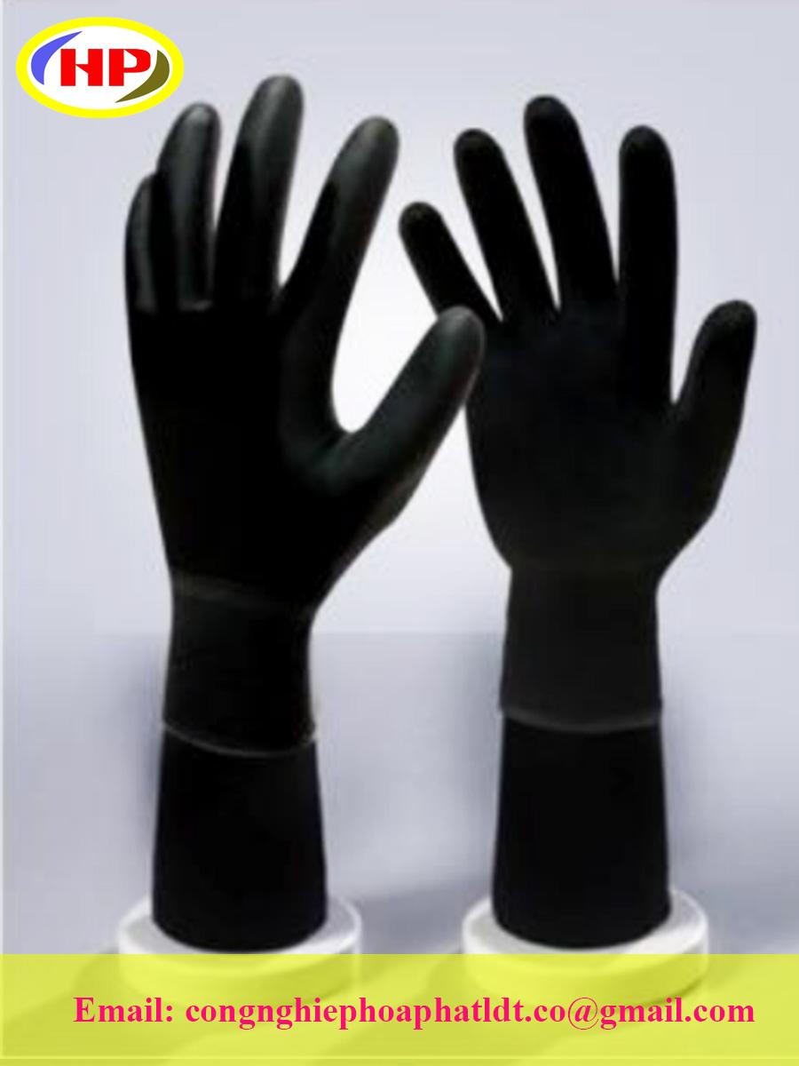 Găng tay sợi poly phủ PU lòng bàn tay màu đen (POBB-300)