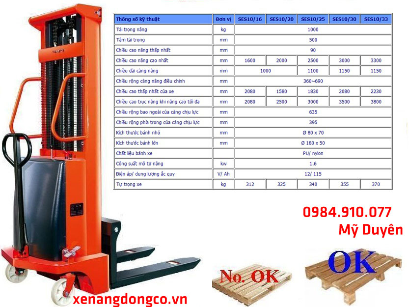 Xe nâng bán tự động tải trọng 1 tấn cao 2.5 mét SES10/25