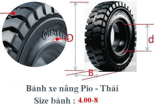 lốp xe nâng, vỏ xe nâng, lốp xe Pio đặc, vỏ xe đặc Pio- Thái, lốp xe 4.00-8, vỏ xe 4.00-8