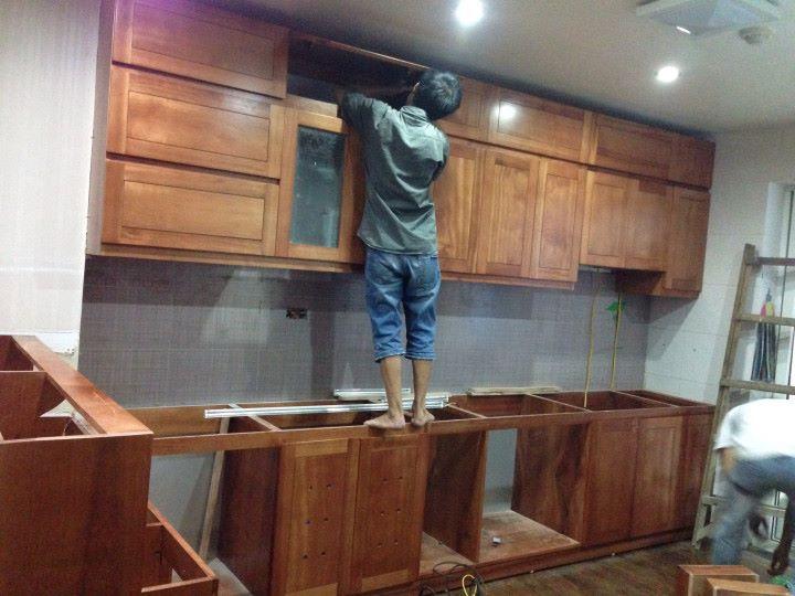 tủ bếp gỗ sồi nga giá rẻ