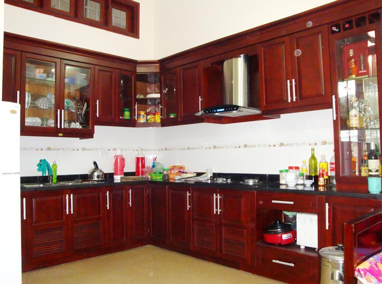 tủ bếp xinh, tủ bếp đẹp, tủ gỗ sồi nga, tủ gỗ tự nhiên