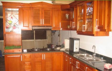 tủ bếp gỗ dổi, tủ bếp gỗ dổi đẹp, tủ bếp gỗ sồi nga, tủ bếp mini. tủ bếp