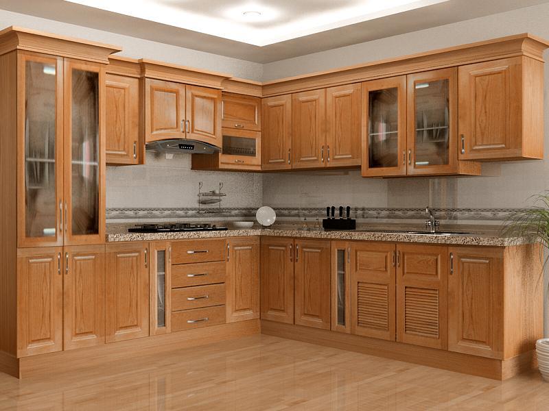 tủ bếp xoan đào phun áp mộc