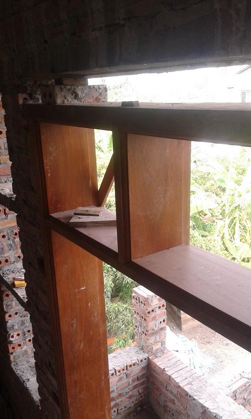 khung cửa gỗ kép