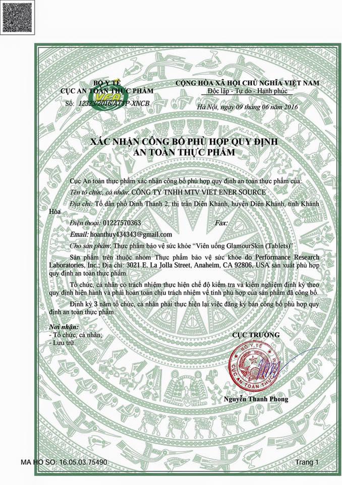 xác nhận công bố an toàn thực phẩm Glamour skin của Bộ Y tế Việt Nam