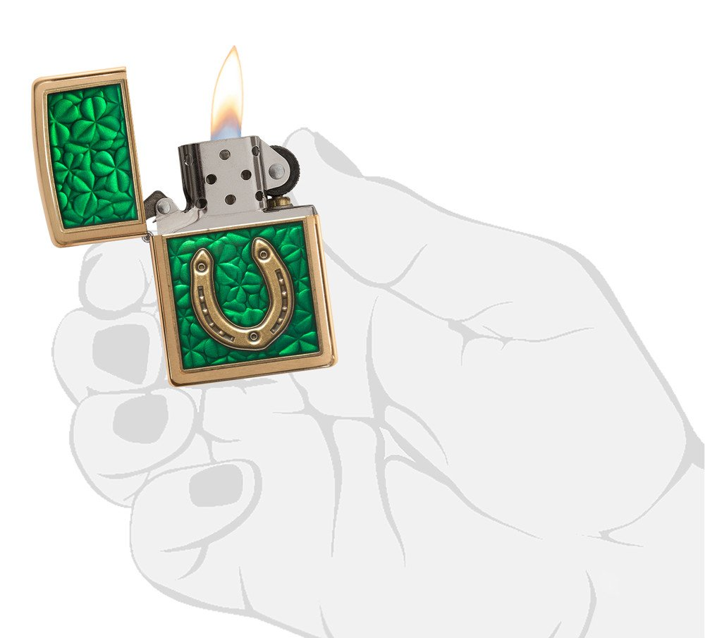 Zippo Clovers And Horseshoe Emblem Brushed Brass