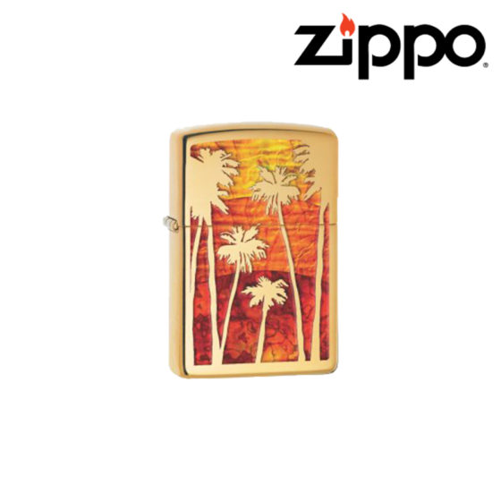 Zippo Palm Tree Sunset High Polish Brass