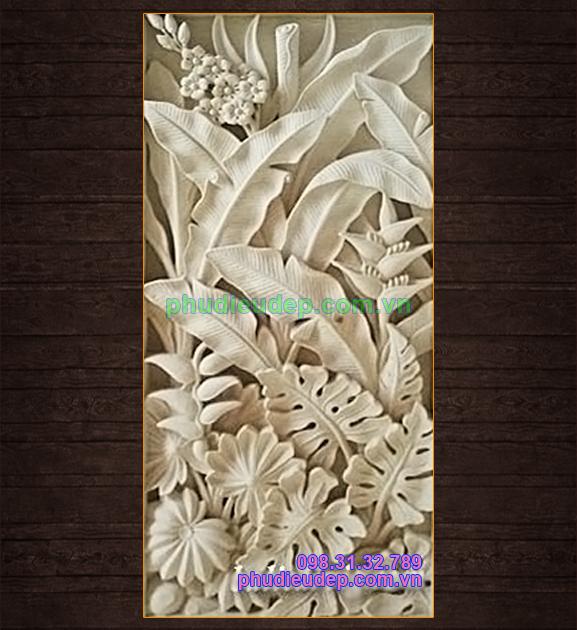 phù điêu hoa chuối rừng, phù điêu hoa chuối và phù điêu lá ráy