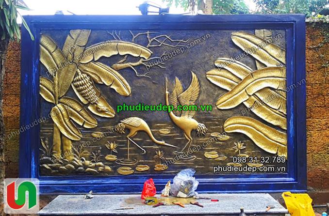 phù điêu chim hạc và cây chuối Trịnh Quyết FLC