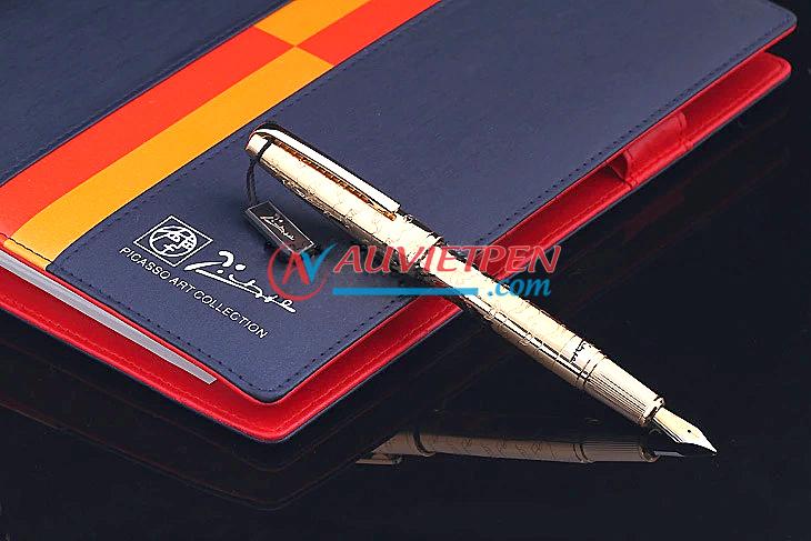 Bút máy cao cấp Picasso Pimio 918FG thân vàng, cài vàng