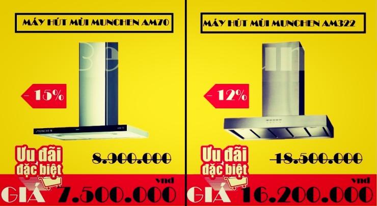 Khuyến mãi giảm giá trực tiếp khi mua máy hút mùi Munchen